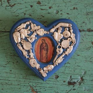 Framed Virgen de Guadalupe Milagro-Covered Hearts - Zinnia Folk Arts