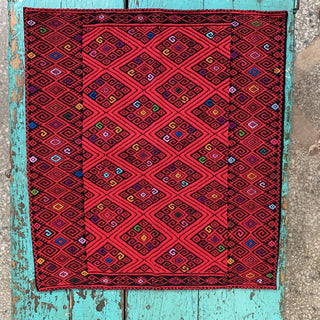 Chiapas Red with Multi-colored Square Pillow Cover - Zinnia Folk Arts