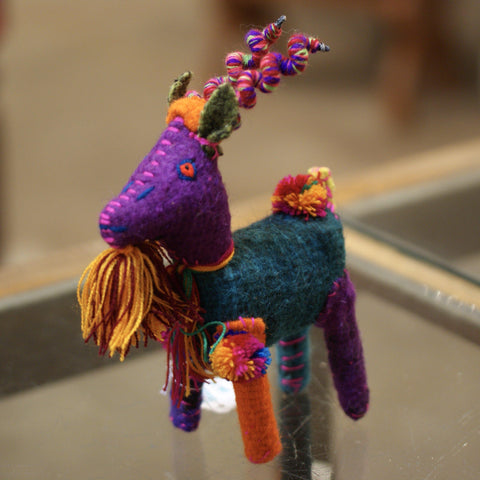 Wool Deer from Chiapas With Curly Horns, Small - Zinnia Folk Arts