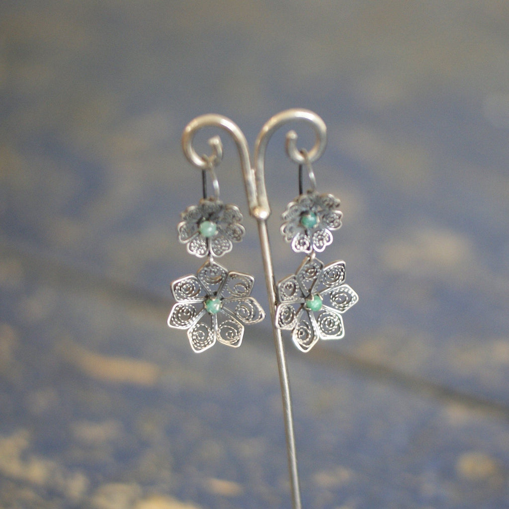 Oxidized Filagree Silver Earring with Green Stones - Zinnia Folk Arts