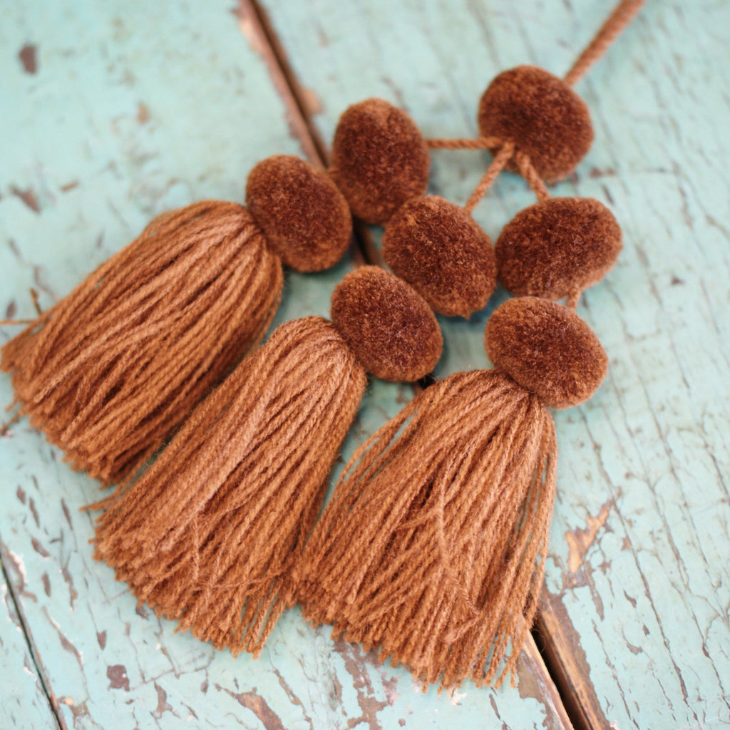 Small Wool Pompoms, Set of 3 Doubles - Zinnia Folk Arts