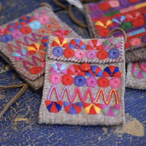 Small Woven and Embroidered Wool Bags from Chiapas - Zinnia Folk Arts