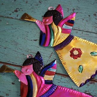 Tin Angels For The Wall, Shiny Finish - Zinnia Folk Arts