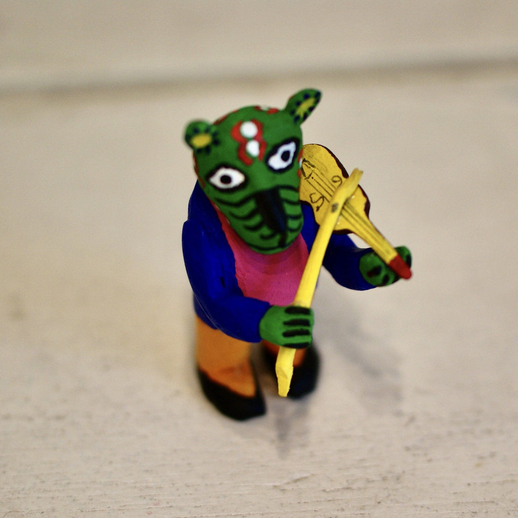 Tiny Carved Wooden Violinist from Oaxaca - Zinnia Folk Arts