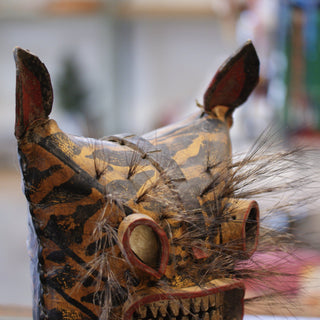 Old Leather Tigre Mask with Boar Bristle Whiskers, Guerrero - Zinnia Folk Arts