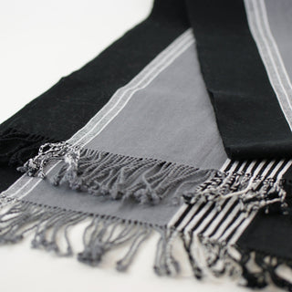 Black, White and Gray Cotton Table Runner - Zinnia Folk Arts