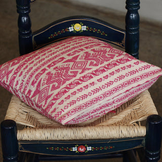Bright Pink on White Handwoven Square Pillow Cover, Chiapas - Zinnia Folk Arts