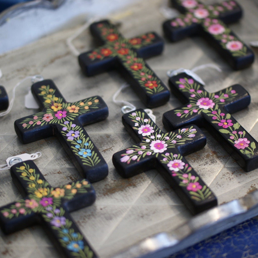 Small Lacquered & Painted Chiapas Wood Cross - Zinnia Folk Arts