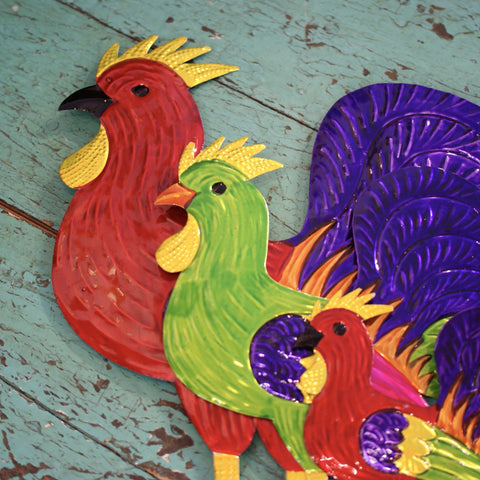 Large Painted Tin Decorative Roosters - Zinnia Folk Arts