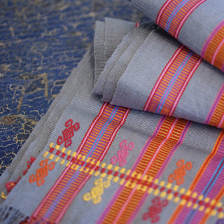 Long Gray Striped Handwoven and Embroidered Table Runners, 8' - Zinnia Folk Arts