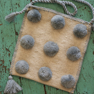 Modern Wool with Pom Poms Bags from Chiapas - Zinnia Folk Arts