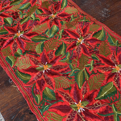 8'  Christmas Machine Embroidered Table Runner - Zinnia Folk Arts