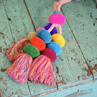 Chiapas EXTRA Large Wool Pompoms with Tassels - Zinnia Folk Arts