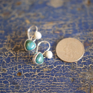 Mexican Small Stone, Pearl and Silver Earring - Zinnia Folk Arts
