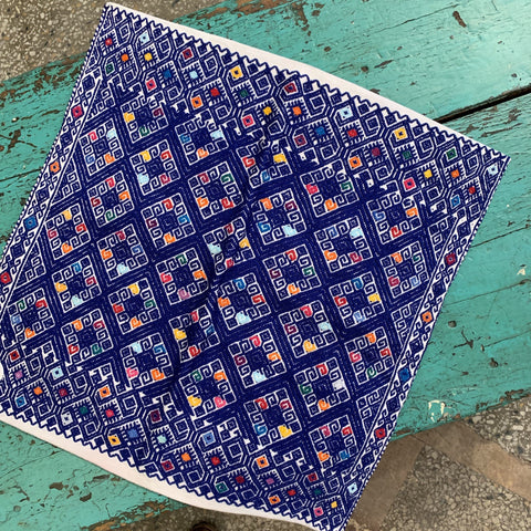 Chiapas Navy Blue with Multi-colored Square Pillow Covers - Zinnia Folk Arts