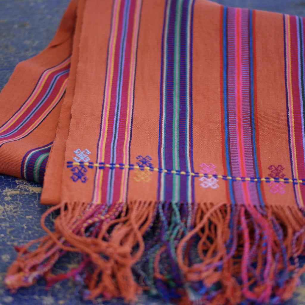 Long Brick Striped, Handwoven and Embroidered Table Runners, 8' - Zinnia Folk Arts