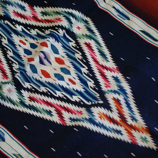 Ombre Multi-Colored Authentic Vintage Saltillo Mexican Runner, No Fringe, As Is - Zinnia Folk Arts