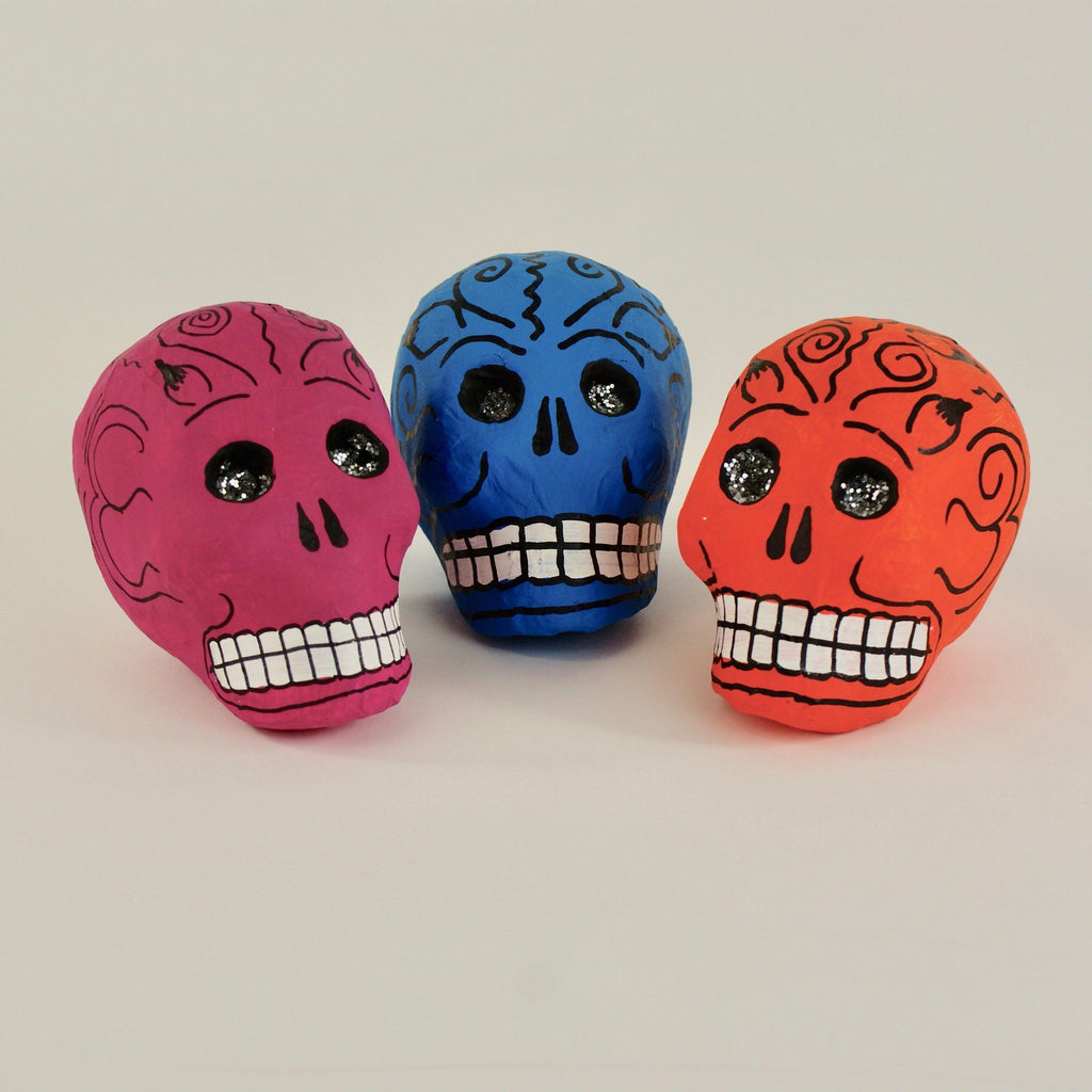 Mexican Papier-Mâché Skulls with Glitter Eyes - Zinnia Folk Arts