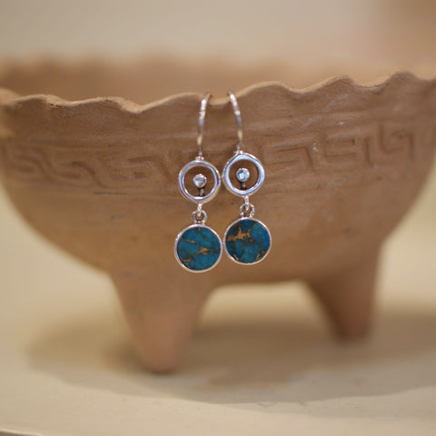 Silver and Compressed Turquoise Earrings - Zinnia Folk Arts