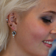 Small Baroque Silver with Bead Earring