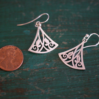 Triangle Mexican Silver Earrings from Taxco, Mexico - Zinnia Folk Arts
