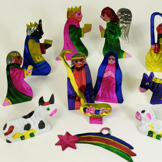 Fold Up Tin Nativity Creche, 12 pieces - Zinnia Folk Arts
