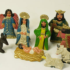 Matte Finish Fold Up Tin Nativity, Fits into a Box, 10 pieces