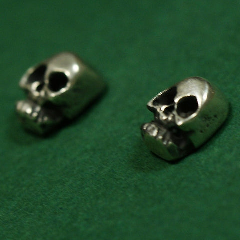 Sterling Skull Posts - Zinnia Folk Arts