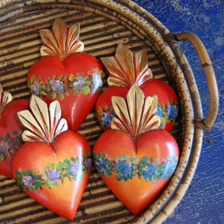 Painted Wooden Sacred Hearts - Zinnia Folk Arts