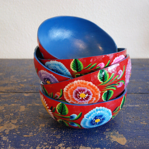 Painted Red Gourd  Bowls,  Medium - Zinnia Folk Arts