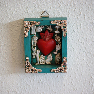 Small Milagro Nicho Boxes with Sacred Heart - Zinnia Folk Arts