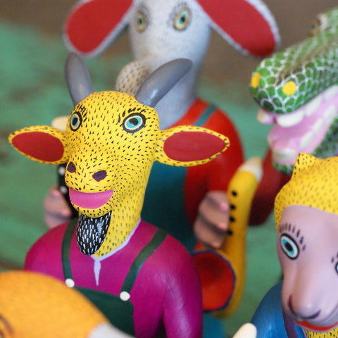 Carved and Painted Animal Musicians, Vasquez Family, San Martin Tilcajete - Zinnia Folk Arts