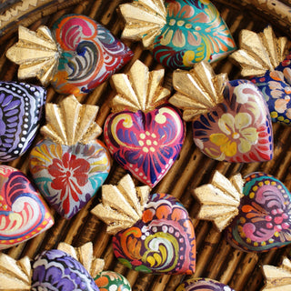 Tiny Painted Wooden Sacred Hearts - Zinnia Folk Arts