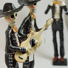 "Paper Mache Day of the Dead Mariachis, 14"" Tall"