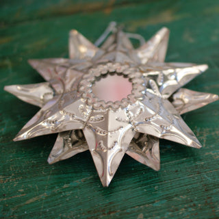 Double Sided Tin Star With Mirror - Zinnia Folk Arts
