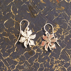 Small Mexican Silver Poinsetta Flower Earrings