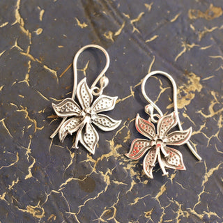 Small Mexican Silver Poinsetta Flower Earrings - Zinnia Folk Arts