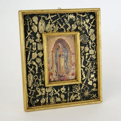 Milagro Covered Frame with Guadalupe and Gold Leaf Edging