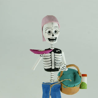 Mexican Paper Mache Skeletons at Work - Zinnia Folk Arts