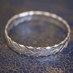 Taxco Mexico Bangle, Woven Sterling Silver Bracelet