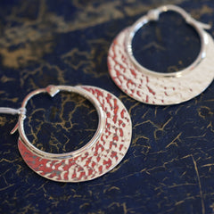 Hammered Silver Arracadas, Mexican Earrings