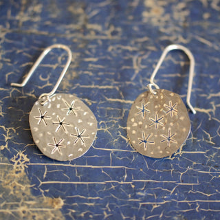 Starry Night Silver Disc Earrings, Taxco, Mexico - Zinnia Folk Arts