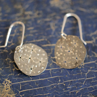 Starry Night Silver Disc Earrings, Taxco Mexico - Zinnia Folk Arts