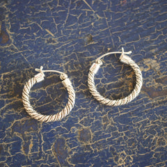 Mexican Twisted Silver Hoop, Sterling Silver