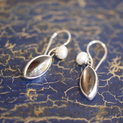 Mexican Stone and Silver Earring, Almond Shape