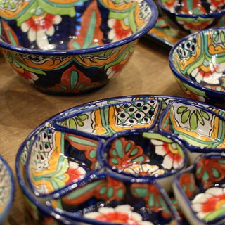 Mexican Talavera Round Appetizer Tray with Removable Bowls - Zinnia Folk Arts