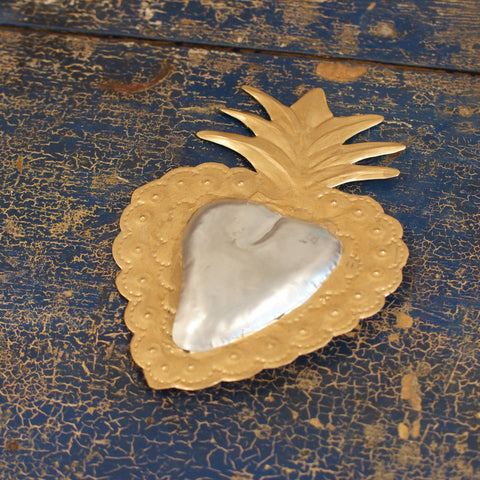 Gold Leaf Painted Tin Mexican Sacred Hearts, Small - Zinnia Folk Arts