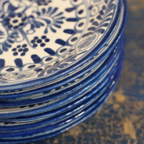 Handmade Blue and White Dessert Plates in the Talavera Style - Zinnia Folk Arts