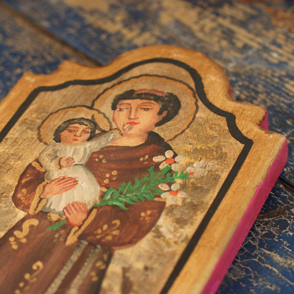 Wood Tablet with St. Anthony and Gold Leaf Edging - Zinnia Folk Arts
