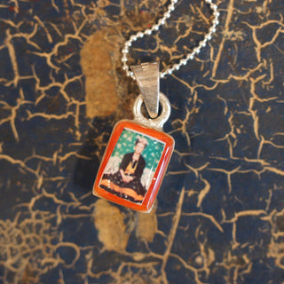 Tiny Frida Kahlo Pendant with Silver Chain - Zinnia Folk Arts